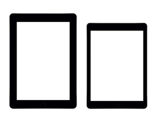 Two blank tablets on white background