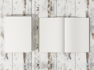 Open magazine cover with blank white page mockup on vintage wooden substrate