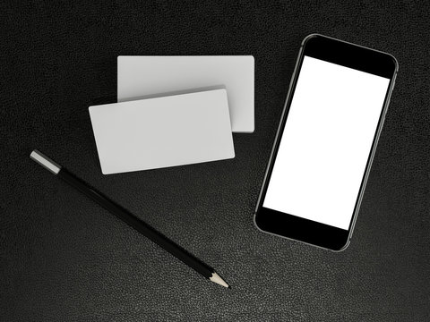 White business cards blank and smartfon mockup on leather background