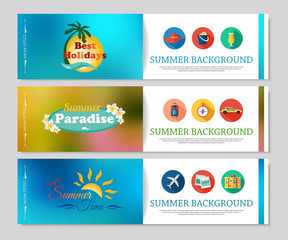 Colorful summer holidays and travel banners. Blurred brochure