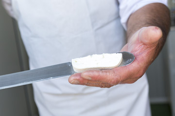 Feta cheese production knife cutting