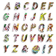 Colorful children alphabet with different cartoon pattern