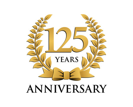 anniversary logo ribbon wreath 125