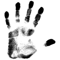 Black Print Of A Hand On A White Background Vector