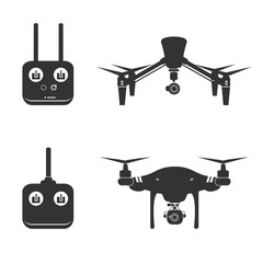 Drone Silhouette Video Aerial Fly Helicopter Camera Vector