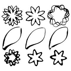 Set of grunge flower shapes. Design elements. Vector, watercolor