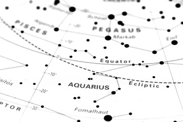 Aquarius star map zodiac.