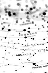Aquarius star map zodiac. Star sign Aquarius on an astronomy star map.