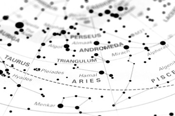 Aries star map zodiac.