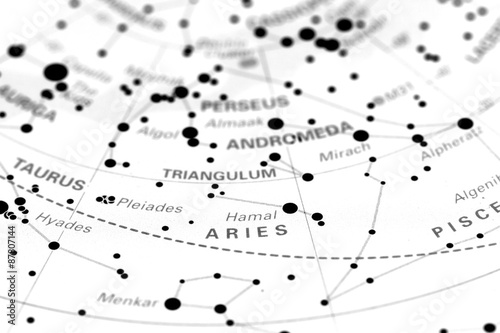 Aries star map zodiac  Star sign Aries on an astronomy star map