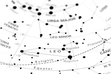 Leo star map zodiac.