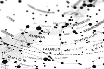 Taurus star map zodiac.