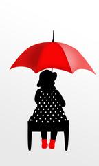 Dziewczynka pod parasolem