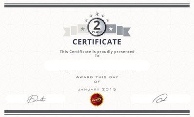 Certificate template with second place concept. certificate bord