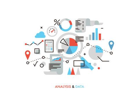 Data analysis flat line illustration
