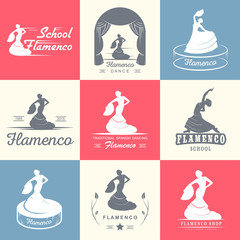 Set of vector logos, badges and silhouettes Flamenco. Collection emblems of traditional Spanish dance, signs school, clubs, shops and studios flamenco isolated on a white background