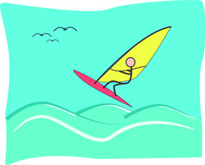Illustration windsurfer jumping the waves