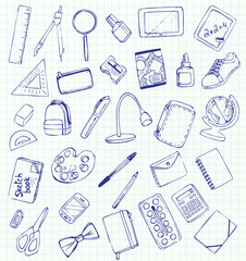 Vector drawing school items