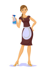 Vector housewife with spray bottle flat illustration