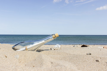 Message in a Bottle on the sandy beach