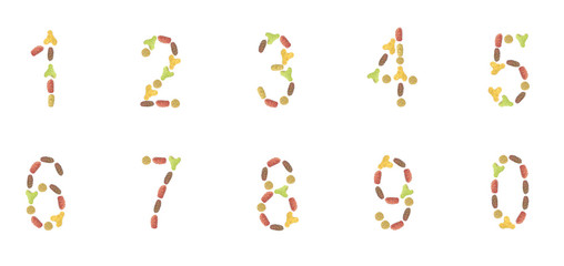 a set of numbers composed of pet food (cat or dog) labels to cre