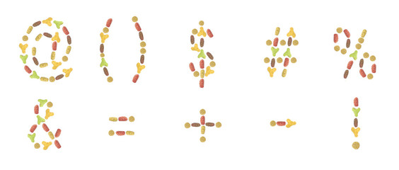 a set of punctuation marks composed of pet food (cat or dog) lab
