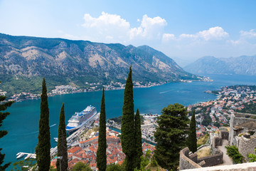 Old harbor and gulf of Kotor