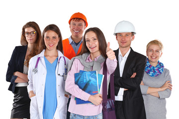 Portrait of smiling people with various occupations and showing