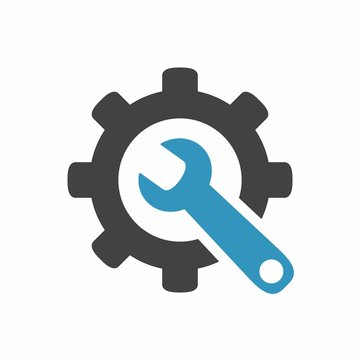 Service icon. Gear and wrench