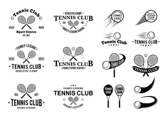 Tennis Club Labels Templates and Design Elements