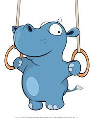 A little hippo performing an Iron Cross. Cartoon