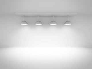 Empty Room Interior Background With Lights