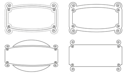 Caligraphic geometric outline blank frames vector set