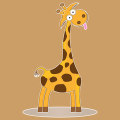 funny cute character cartoon giraffe vector kid illustration wild safari animal