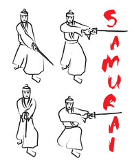 Japanese samurai drawing brush vector