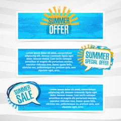 Set of horizontal banners with stickers, labels, badges summer