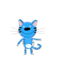 Blue Kitten on White Background