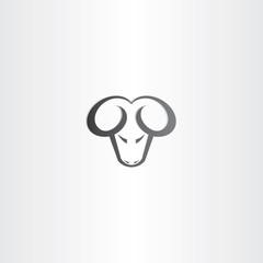 black ram head vector icon