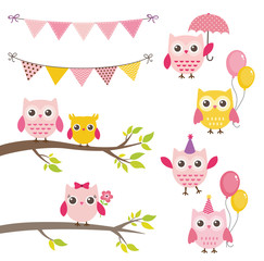 Vector birthday party elements with owls, bunting banners, balloons