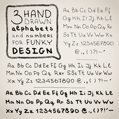 Hand drawn three fonts on white