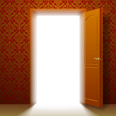 Open door to the glowing room in a retro ornamental wall. Vector illustration