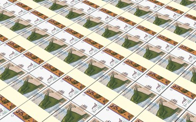 Macedonian denar bills stacks background.
