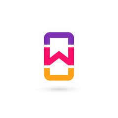 Mobile phone app letter W logo icon design template elements