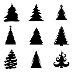 Set of Christmas Trees Isolated on White Background - Vector Illustration
