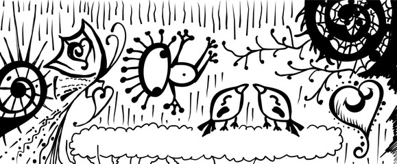 Dreamland ink hand drawn line art vector banner