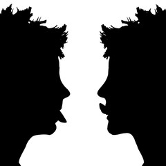 Vector silhouette profile of a woman's face.