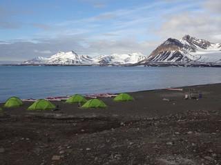 Camp de base en terre polaire