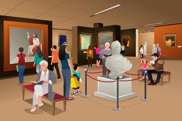 People Inside a Museum of Art