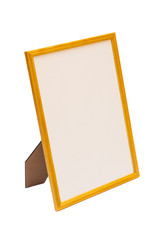Wooden table photo frame on white