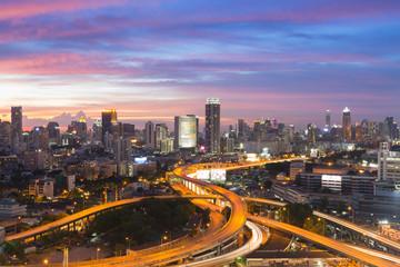 Deurstickers Rotterdam Bangkok elevated road junction and interchange overpass during twilight
